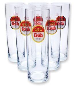 """6 Stück Früh Kölsch Gläser """"Kölner Stange"""" 0,2l - Bier - Köln - Cologne - Set"""