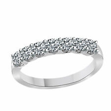 14k Gold Over 925 Sterling Silver Cubic Zirconia Seven-Stone Wedding Band Ring