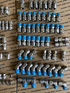 "Swagelok 1/4"" 3/8"" 1/2"" Lot Of Tube Fittings 211 Pcs + Sleeve Ferrules Brand New"