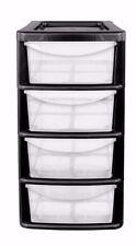 4 DRAWER SMALL PLASTIC DESKTOP TABLETOP ORGANISER - MINI STORAGE UNIT BLACK