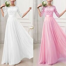 Long Chiffon Formal Lace Party Wear Cocktail Evening Prom Wedding Maxi Dress UK