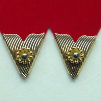 Collar Tips Gold Metal Gray Pearl 4 prs Made in USA Western Square Dance Cowboy