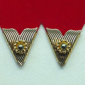 Collar Tips Gold Metal Gray Pearl 1 pair Made in USA Western Square Dance Cowboy