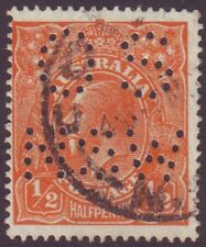 "1/2d ORANGE KGV SMALL MULTIPLE WMK P14 PERFORATED ""OS/NSW"" FU CMV $200+ (A2713)"