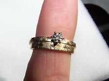 Vintage 10K Diamond Engagement Ring Sz. 7 & 14K Wedding Band Sz. 6.5 For Repair