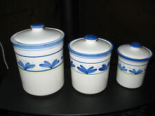 Slightly Used 3 pieces Canister Set with Lids with Gaskets.  Tuscany by M. Ward