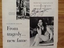 Elizabeth Taylor SIGNED 1958 Article Tragedy Cat on Hot Tin Roof  Mike Todd