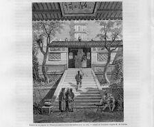Stampa antica GUANGZHOU Entrata Pagoda Whampoa Canton Cina China 1861 Old print