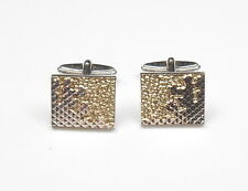 Detail 925 Sterling Silver 12.3g Gents Cufflinks Gold Fronted Honeycomb