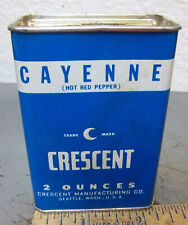 vintage Crescent CAYENNE 2 oz spice tin, partially full- recipe on back, nice