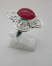 925 Sterling Silver Flower Shaped Ring Cabochon Ruby Size P 1/2, US 8 (rg2370)