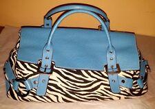 Adrienne Vittadini Kayla Bag Turquoise Blue Black & White Zebra Handbag Bag