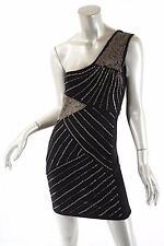 SILVER DAGGER Black Rayon Blend Knit One Shoulder Silver Chain Dress -NWT- Sz S