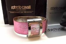 ROBERTO CAVALLI 'MOLLA' HOT PINK LEATHER WATCH ~RETAIL $335~