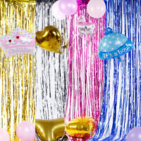 Shimmer Foil Glitter Metallic Backdrop Tinsel Curtain Fringe Wedding Party Decor