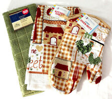 Kitchen Towels Oven Mitt Set of 3 Red Green Rooster Home Country Farm