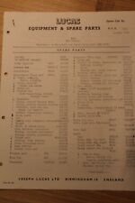 MG Cars MGA 1600cc Lucas Equipment & Spare Parts List Sheet 1959
