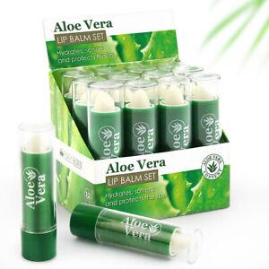 12 x Lip Balm Aloe Vera Lip Care Lipstick Full Size Hydrates and Softens Lips UK