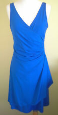 Ladies Cocktail Evening Dress Royal Blue Sleeveless Knee Length Fang Ying Size M