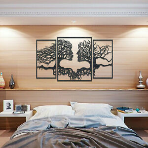 001 Tree Of Life Faces 3 panels Wooden Stain Colour Hanging Wall Art Decor Gift