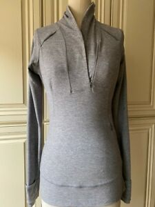 LULULEMON Gray Quarter Zip Stretch Nylon Athletic Jacket Size 4