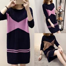 Elegant Women Knit Crew Neck Floral Pullover Shift Shirt Top Dress Plus M-3XL