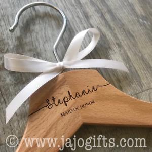 Personalised engraved dress coat hangers for wedding party bride hanger swirl