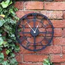 LARGE OUTDOOR GARDEN WALL CLOCK BIG ROMAN NUMERALS GIANT OPEN FACE METAL 35CM