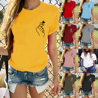 Women Short Sleeve T-Shirt Summer Love Heart Print Fashion Casual O-Neck Tops