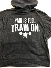 CrossFit Hoodie Workout Exercise Pain Is Fuel Train On Heather Gray Mens Xl