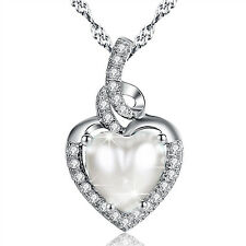 """Heart Birthstone Necklace Sterling Silver Pendant Gifts 18"""" With Cubic Zirconia"""