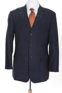 Prada Mens Three Button Up Wool Blazer Suit Jacket Navy Blue Size 50R