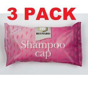 Reynard No Rinse Conditioning Disposable Shampoo Cap 3 Pack Waterless Wash