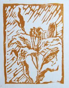 Lily № 1-4 Linocut Armenian artist Mary Batmanyan Original limited print