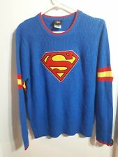 SUPERMAN SHIELD LOGO Cable Knot Quality Made Sweater DC COMICS Size XL