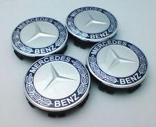 Blau Mercedes-Legierung Rad-Mitte-Naben-Kappen 75MM fits A B C E S ML CLASS *4pc