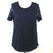 CLASSIC Blouse 12 14 Women Lace Short Sleeve Top Navy Blue Formal Occasion Party