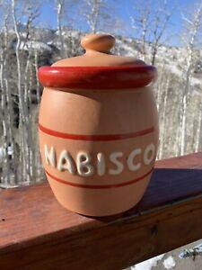 "McCOY #78 NABISCO LIDED COOKIE JAR vintage 1970 retro red/tan 10"" tall  USA"