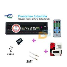 AUTORADIO STEREO FM RADIO MP3 USB SD CARD + PEN DRIVE 8 GB + CAVO AUX AUDIO