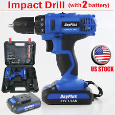 Power Tool 21V 2PCS Lithium-Ion Electric Cordless Drill With LED Work Light Set