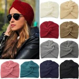 Women Ladies Knitted Turban Hijab Muslim Head Wrap Twist Knot Headband Chemo Hat