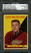 1958-59 1958 TOPPS HOCKEY~#52~ALEX DELVECCHIO~PSA/DNA AUTOGRAPHED SIGNED