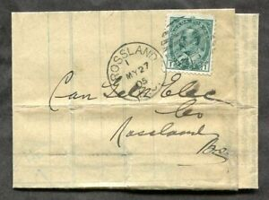 p1778 - ROSSLAND BC 1905. 1c Franking on Folded CPR Freight Order Document
