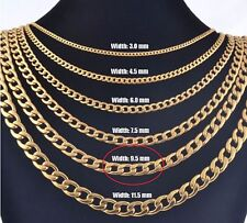 """9.5mm 16"""" Long Stainless Steel Curb necklace Link Chain Pendant Gold Tn STCR9.5G"""