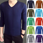 Men's V-Neck Long Sleeve T-Shirt Slim Fit Casual Solid Basic Tee Shirts 18-Color