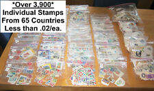 Worldwide Stamp Assortment.3,918 Stamps in 1 Lot.Counted & Separated