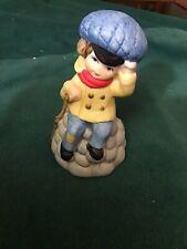 Jasco Merri Bells Collection Little Boy Bisque Porcelain Bell Taiwan 1978