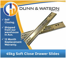 450mm 45kg Soft Close Drawer Slides / Fridge Runners - Kitchens, Trailer, 4wd