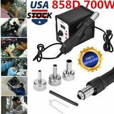858D 700W Soldering Rework Station Iron Desoldering Hot Air Gun Tool W/3 Nozzles