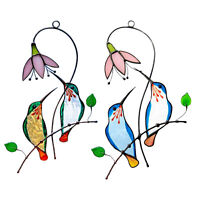 Colorful Cute Stained Glass Window Hanging Panel Birds Suncatcher Decor Gift